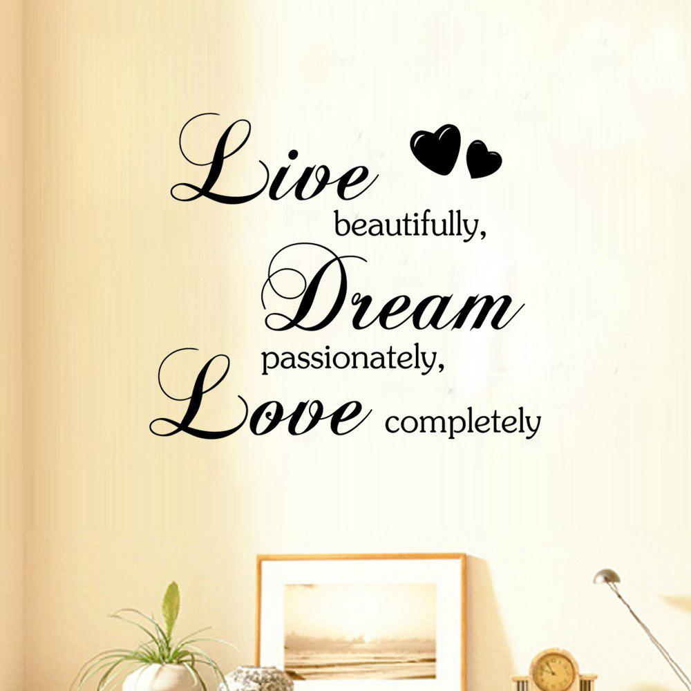 DSU Live Dream Love Dining Room Kids Bedroom Wall StickerHOME<br><br>Size: 34.5 X 57CM; Color: BLACK; Brand: DSU; Type: Plane Wall Sticker; Subjects: Cute,Fashion,Leisure,Letter; Color Scheme: Black; Function: Decorative Wall Sticker; Material: Vinyl(PVC); Suitable Space: Bedroom,Corridor,Dining Room,Hallway,Hotel,Living Room,Pathway; Layout Size (L x W): 34.5 x 57cm; Effect Size (L x W): 49 x 59cm; Quantity: 1;
