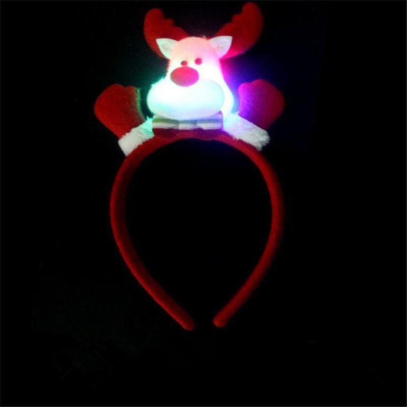 Cute Flashing Christmas Headband LED Headwear for Kids Adults DecorationHOME<br><br>Color: RED AND WHITE; Usage: Christmas;