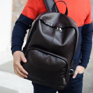 Simple Casual Fashion PU Leather Backpack Schoolbag for Men -