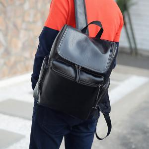 Fashion Simple Solid Color PU Leather Backpack Schoolbag for Men -