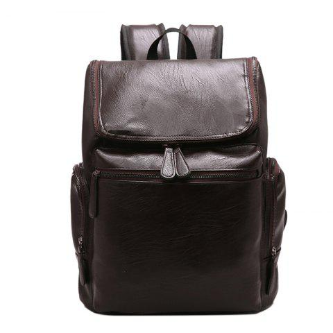 Buy Fashion Simple Solid Color PU Leather Backpack Schoolbag for Men