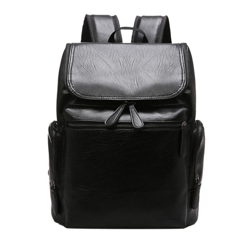 Fashion Simple Solid Color PU Leather Backpack Schoolbag for MenSHOES &amp; BAGS<br><br>Color: BLACK;