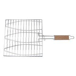 Stainless Steel Triple Fish Basket Outdoor / Indoor BBQ Net -