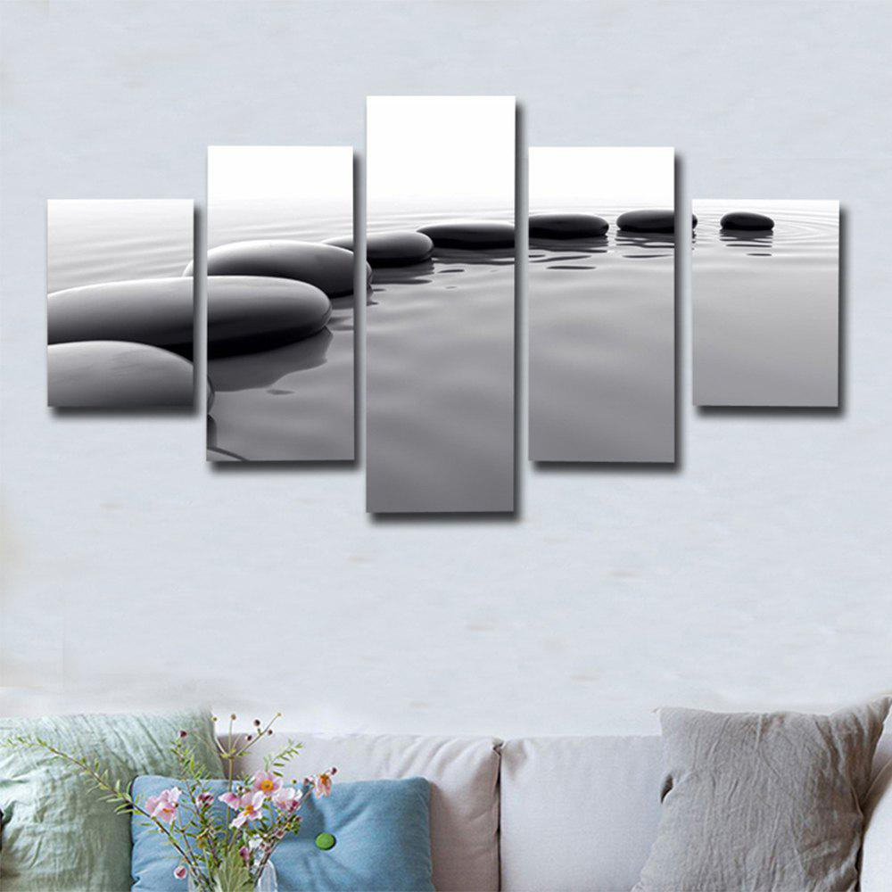 Modern Wall Art Painting Landscape Canvas Painting 5PCSHOME<br><br>Size: 30 X 40CM 2PCS + 30 X 60CM 2PCS + 30 X 80CM 1PCS; Color: BLACK WHITE; Material: Canvas; Shape: Vertical; Craft: Print; Form: Five Panels; Painting: Without Inner Frame; Subjects: Landscape; Style: Modern Style; Suitable Space: Bedroom,Cafes,Dining Room,Hotel,Living Room,Office,Study Room / Office;
