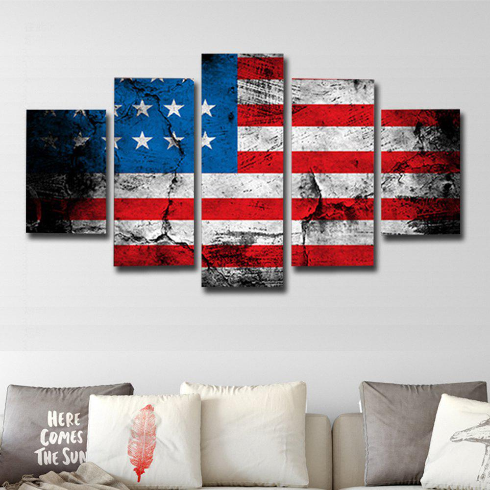 Printed Painting American Flag Canvas Print 5PCSHOME<br><br>Size: 30 X 40CM 2PCS + 30 X 60CM 2PCS + 30 X 80CM 1PCS; Color: COLORFUL; Material: Canvas; Shape: Vertical; Craft: Print; Form: Five Panels; Painting: Without Inner Frame; Subjects: Vintage; Style: Modern Style; Suitable Space: Bedroom,Cafes,Dining Room,Hotel,Living Room,Office;