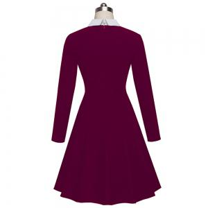 Vintage Classic Turn-down Neck Elegant Ladylike Charming Solid Full Length Sleeve Ball Gown Formal Woman Dress -