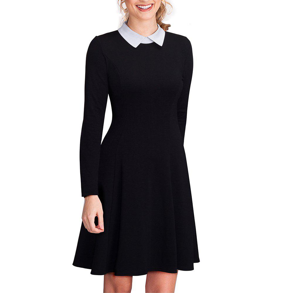 Vintage Classic Turn-down Neck Elegant Ladylike Charming Solid Full Length Sleeve Ball Gown Formal Woman DressWOMEN<br><br>Size: XL; Color: BLACK;