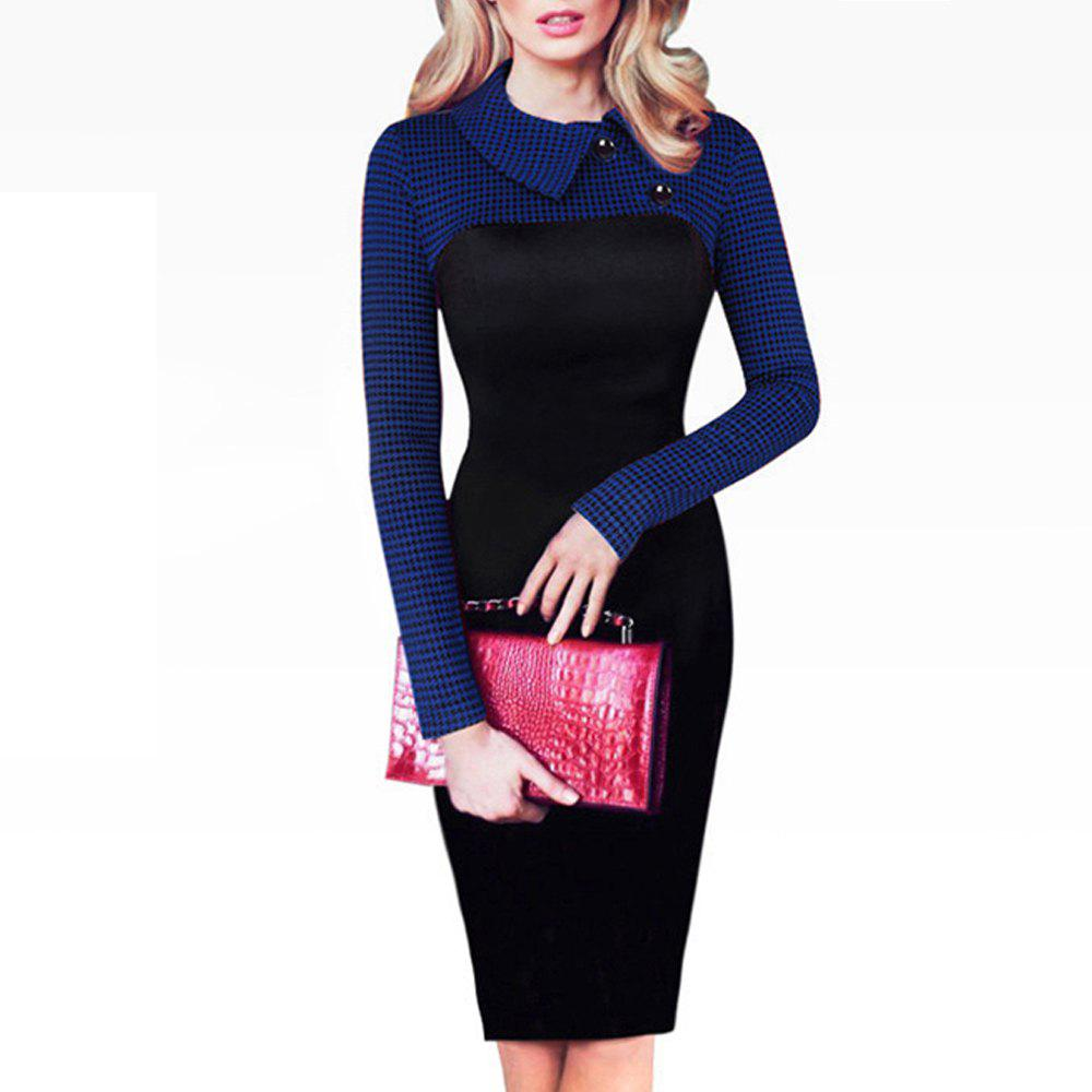 Elegant Vintage Fitted Winter Dress Full Sleeve Patchwork Turn-down Collar Button Business Sheath Pencil DressWOMEN<br><br>Size: L; Color: DEEP BLUE;