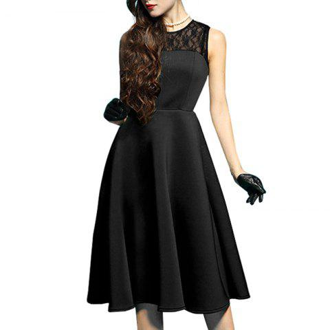 Outfits Elegant Ladylike Stylish Lace Charming Sexy Women O Neck Sleeveless Vintage Ball Gown Little Black Dress