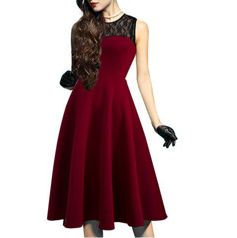 Best Elegant Ladylike Stylish Lace Charming Sexy Women O Neck Sleeveless Vintage Ball Gown Little Black Dress