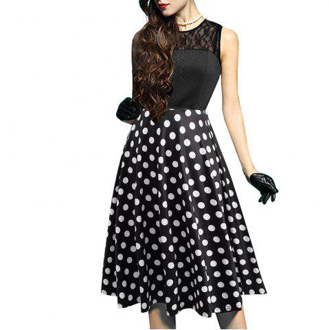 New Elegant Ladylike Stylish Lace Charming Sexy Women O Neck Sleeveless Vintage Ball Gown Little Black Dress