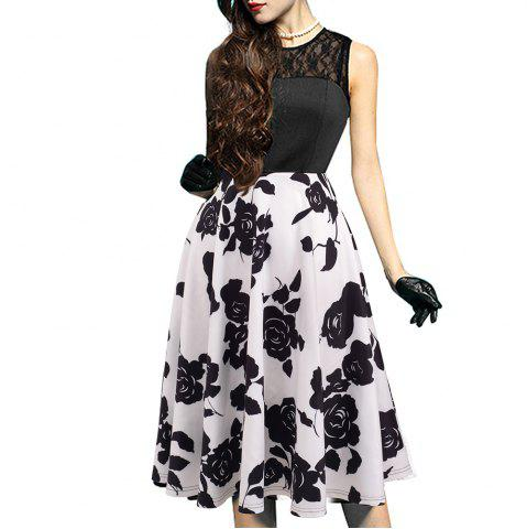 Fancy Elegant Ladylike Stylish Lace Charming Sexy Women O Neck Sleeveless Vintage Ball Gown Little Black Dress