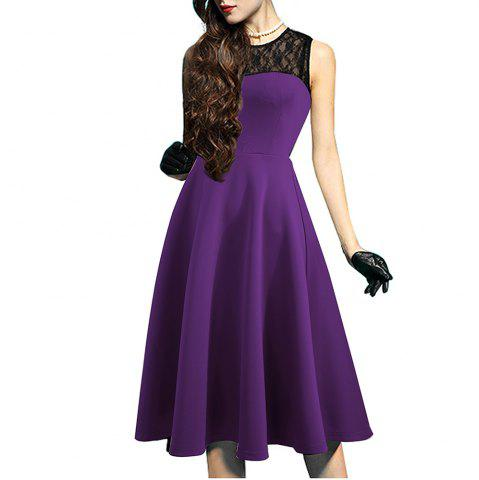 Discount Elegant Ladylike Stylish Lace Charming Sexy Women O Neck Sleeveless Vintage Ball Gown Little Black Dress