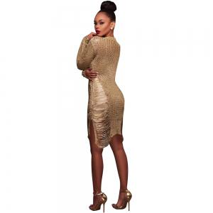 Women'S Sexy Hollow-out  Solid Bodycon Knitwear Mini Dresses(Without Belt) -