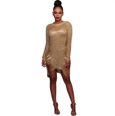 Unique Women'S Sexy Hollow-out  Solid Bodycon Knitwear Mini Dresses(Without Belt)