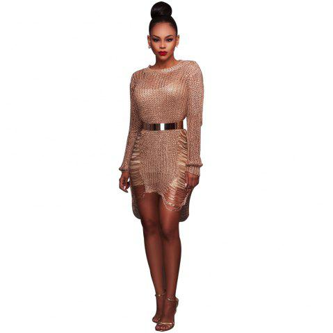 Chic Women'S Sexy Hollow-out  Solid Bodycon Knitwear Mini Dresses(Without Belt)