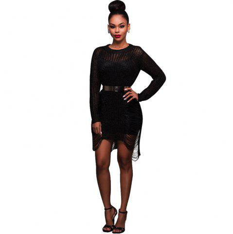 Sale Women'S Sexy Hollow-out  Solid Bodycon Knitwear Mini Dresses(Without Belt)