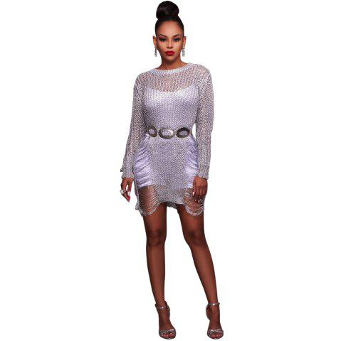 Store Women'S Sexy Hollow-out  Solid Bodycon Knitwear Mini Dresses(Without Belt)