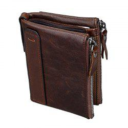 Short Retro Men Wallet Business Genuine Leather Coin Wallets Male Purse Credit Cards Holder Double Zipper -
