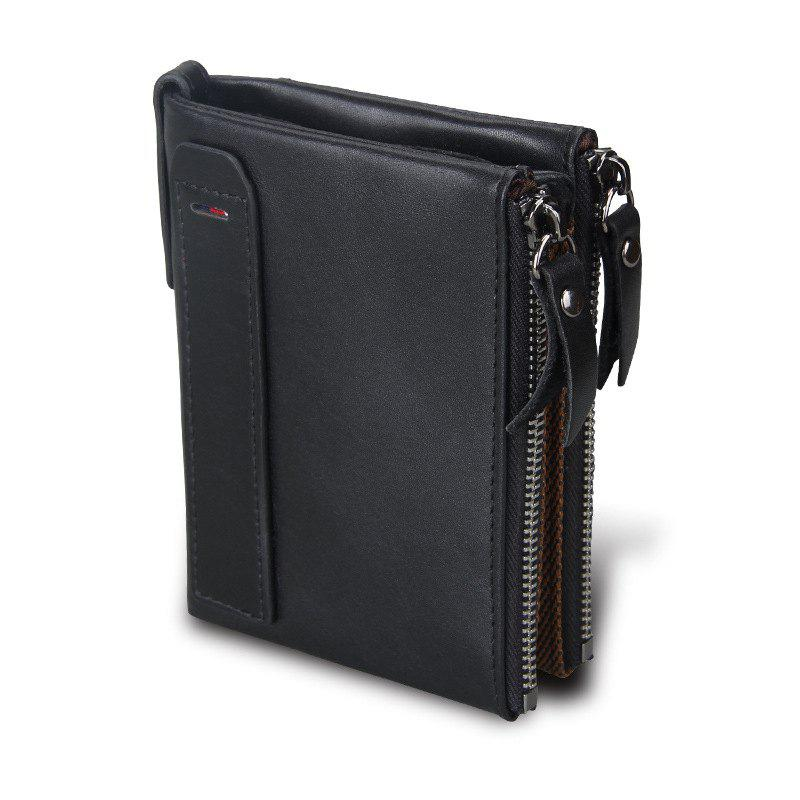 Discount Short Retro Men Wallet Business Genuine Leather Coin Wallets Male Purse Credit Cards Holder Double Zipper