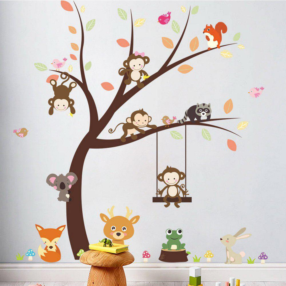 Forest Animal Cartoon Monkey Wall Sticker For Kids Room Decoration 2PCSHOME<br><br>Color: COLORMIX; Type: Plane Wall Sticker; Subjects: Animal,Botanical,Cartoon,Landscape,Still Life; Art Style: Plane Wall Stickers; Color Scheme: Others; Artists: Others; Function: Decorative Wall Sticker; Material: Vinyl(PVC); Suitable Space: Bedroom,Boys Room,Cafes,Dining Room,Game Room,Garden,Girls Room,Kids Room,Kids Room,Living Room; Layout Size (L x W): 30cm x 90cm x 2pcs; Effect Size (L x W): 100cm x 97cm; Quantity: 2pcs;