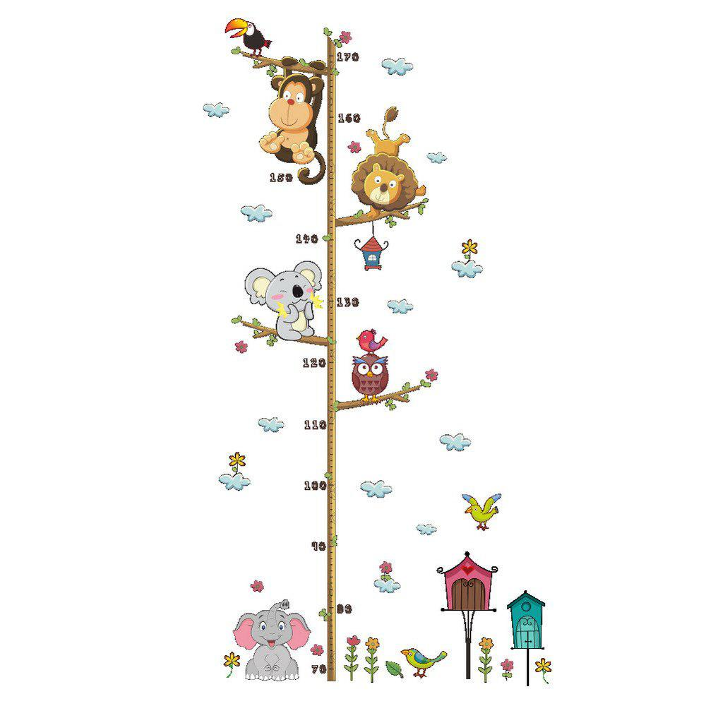 Cartoon Animals Sticker For Kids room DecalHOME<br><br>Color: COLORMIX; Type: Plane Wall Sticker; Subjects: Animal,Botanical,Cartoon,Still Life; Art Style: Plane Wall Stickers; Color Scheme: Others; Artists: Others; Function: Decorative Wall Sticker,Height Sticker; Material: Vinyl(PVC); Suitable Space: Bedroom,Boys Room,Game Room,Girls Room,Kids Room,Kids Room,Living Room; Layout Size (L x W): 90cm x 30cm; Effect Size (L x W): 108cm x 57cm; Quantity: 1;