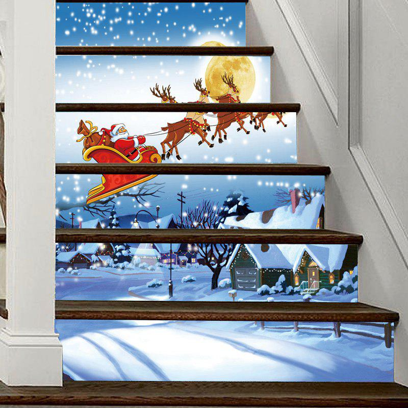Christmas Snowy Night Santa Pattern Decorative Stair Decal 6PCSHOME<br><br>Color: COLORMIX; Type: 3D Wall Sticker; Subjects: 3D,Christmas; Art Style: Plane Wall Stickers; Function: 3D Effect,Decorative Wall Sticker; Material: Vinyl(PVC); Suitable Space: Bedroom,Living Room; Quantity: 6pcs;