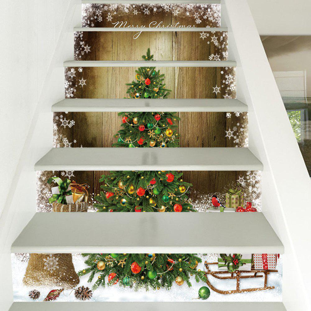 Christmas Tree Woodgrain Pattern Decorative Stair Decals 6PCSHOME<br><br>Color: COLORMIX; Type: 3D Wall Sticker; Subjects: 3D,Christmas; Art Style: Plane Wall Stickers; Function: 3D Effect,Decorative Wall Sticker; Material: Vinyl(PVC); Suitable Space: Bedroom,Living Room; Quantity: 6pcs;