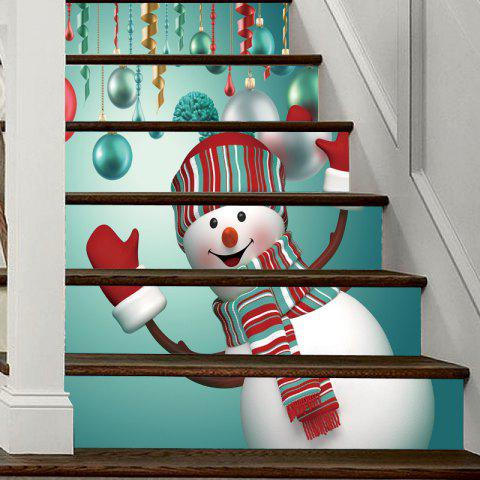Christmas Snowman Baubles Pattern Decorative Stair Decal 6PCS