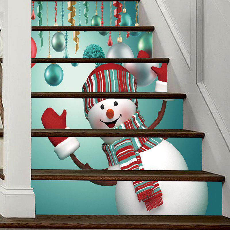 Christmas Snowman Baubles Pattern Decorative Stair Decal 6PCSHOME<br><br>Color: COLORMIX; Type: 3D Wall Sticker; Subjects: 3D,Christmas; Art Style: Plane Wall Stickers; Function: 3D Effect,Decorative Wall Sticker; Material: Vinyl(PVC); Suitable Space: Bedroom,Living Room; Quantity: 6pcs;