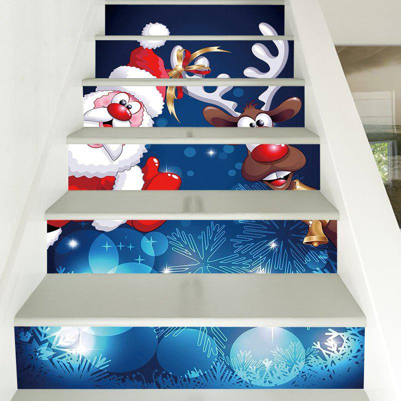 Christmas Santa Deer Pattern Decorative Stair Decals 6PCSHOME<br><br>Color: COLORMIX; Type: 3D Wall Sticker; Subjects: 3D,Christmas; Art Style: Plane Wall Stickers; Function: 3D Effect,Decorative Wall Sticker; Material: Vinyl(PVC); Suitable Space: Bedroom,Cafes,Kids Room,Living Room; Quantity: 6pcs;