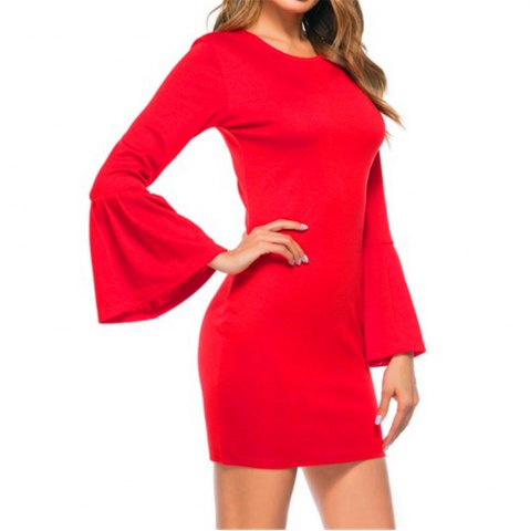 Outfit New Trumpet Sleeves Dress