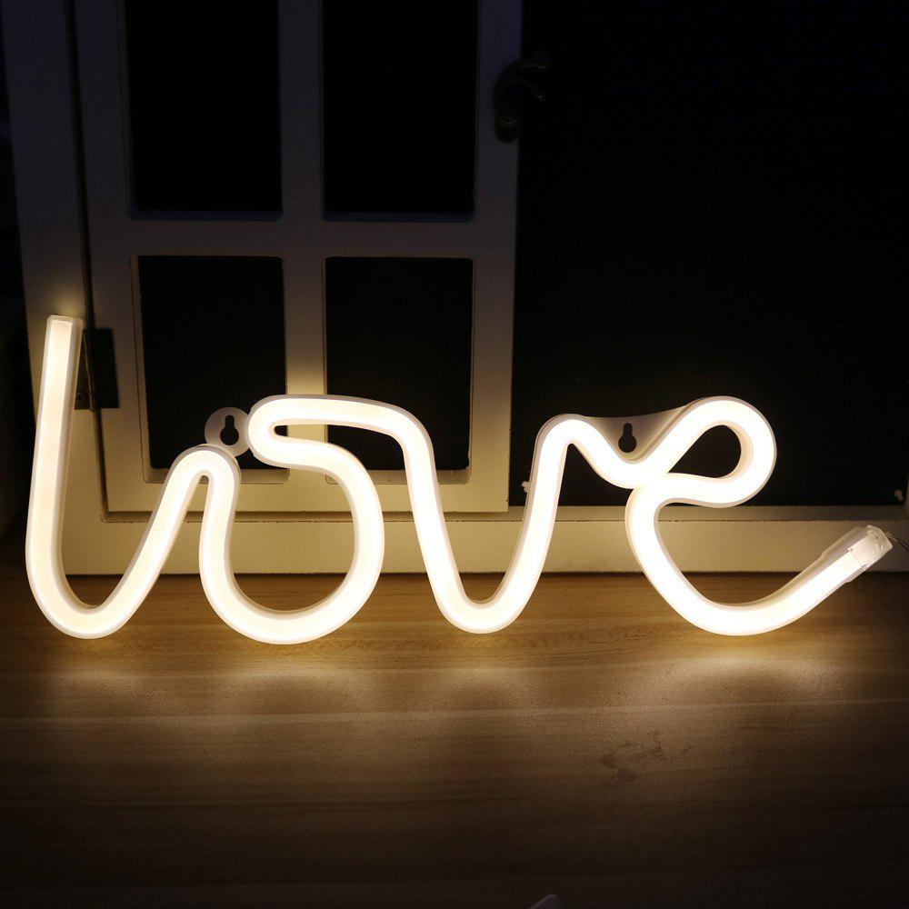 Latest Neon Night Light Love Shaped LED Lamp for Baby Bedroom Decoration Wedding Party Decor