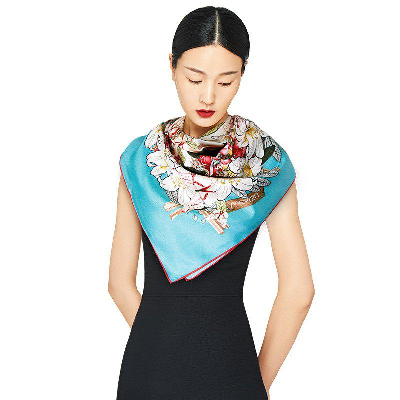 Fancy Classic Twill Silk Scarf Women Luxury Large Size Square Shawls