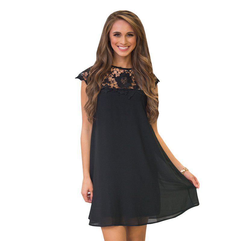 Womens Lace Stitching Short-Sleeved Round Neck Casual DressWOMEN<br><br>Size: XL; Color: BLACK;