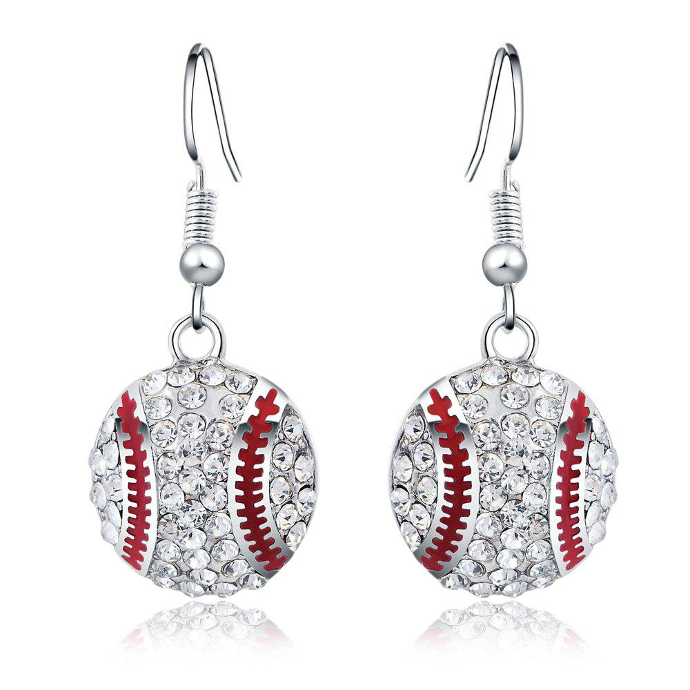 Fashion Silver  Baseball-shaped  Pendant Earrings with Diamond Graceful JewelryJEWELRY<br><br>Color: SILVER; Earring Type: Drop Earrings; Gender: For Women; Back Finding: Other; Metal Type: Copper Alloy; Stone Color: Transparent; Style: Romantic; Shape/Pattern: Round; Occasion: Party; Size (CM): 1.5CM; Diameter: 1.5CM; Product weight: 0.0300 kg; Package weight: 0.0400 kg; Package size (L x W x H): 10.00 x 10.00 x 5.00 cm / 3.94 x 3.94 x 1.97 inches; Package Contents: 1 x Earrings(pair);