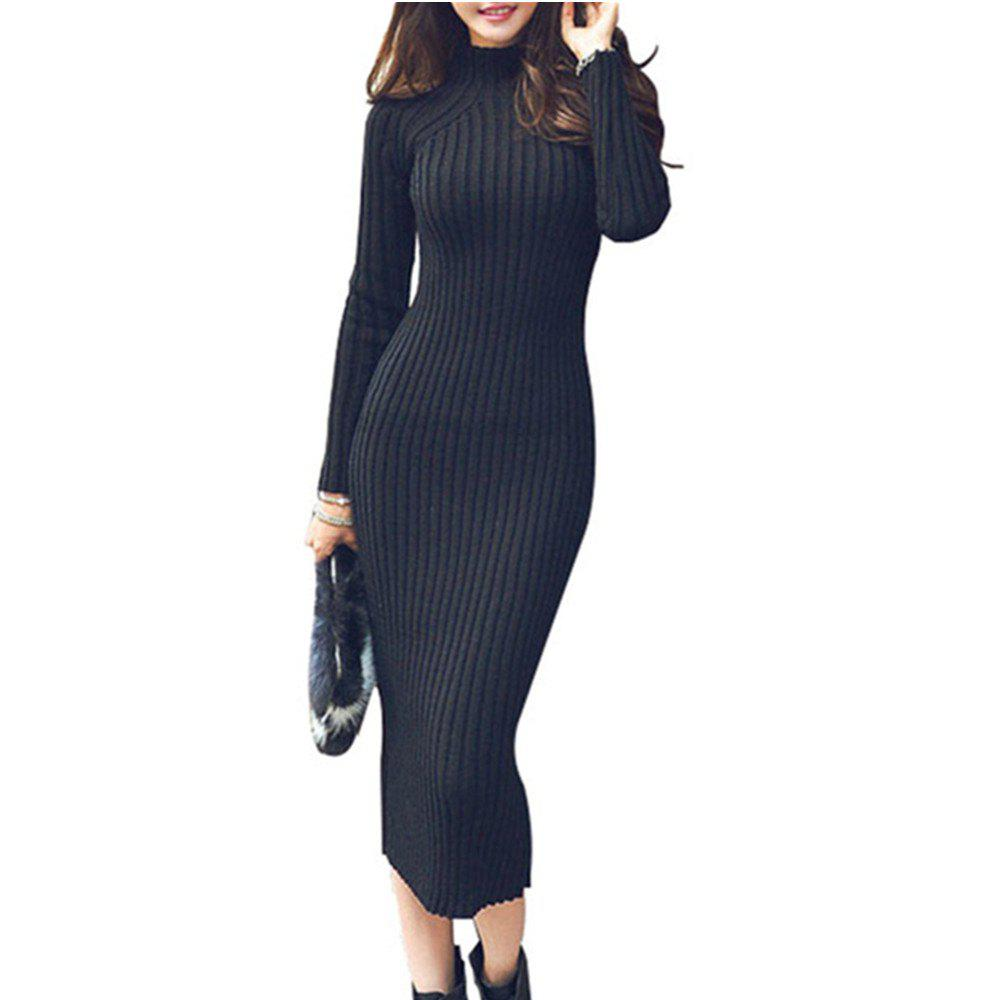 Outfits The New Slim Warm Long Paragraph Sweater Dress