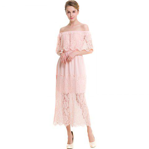 Outfits BKMGC Sexy Off-The-Shoulder Stitched Lace Dress