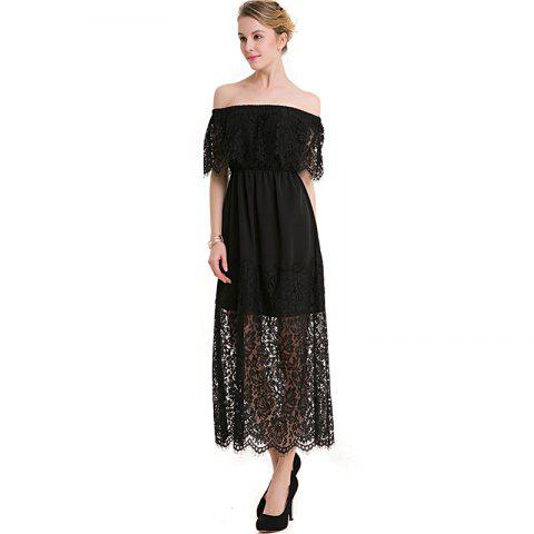 Online BKMGC Sexy Off-The-Shoulder Stitched Lace Dress