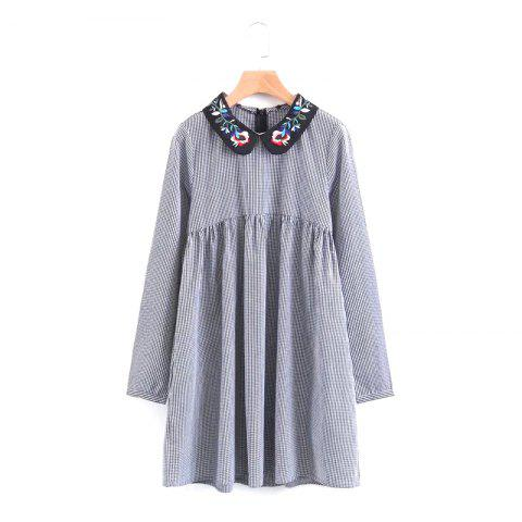 Store The New Lady Embroidered Collar Mini Dress