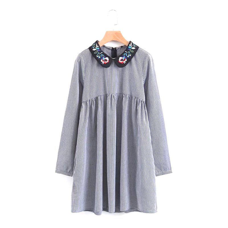 Unique The New Lady Embroidered Collar Mini Dress