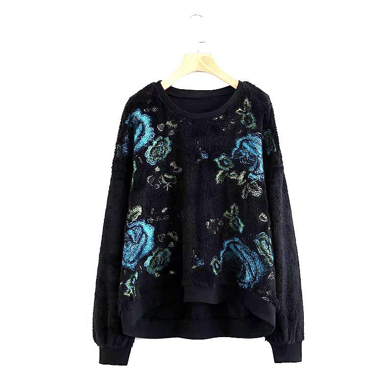 The New Lady s Black Embroidered Pullovers 235333903