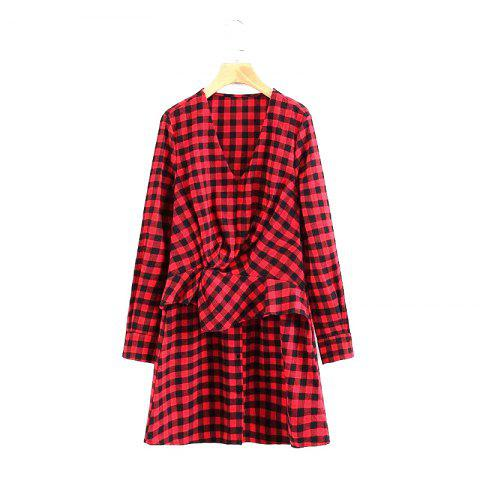 Online 2017 New Ladies Red Checked Dress