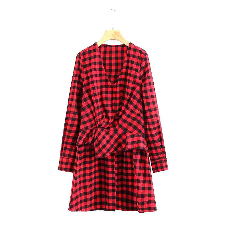 2017 Новый Ladies Red Checked Dress