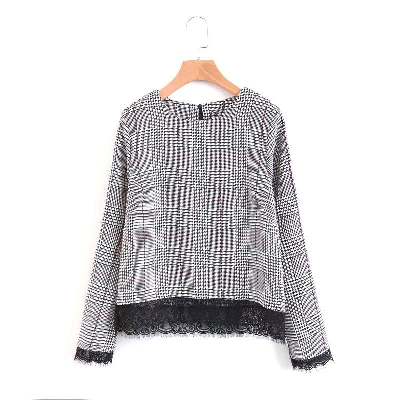 2017 New Ladies Lace Plaid PulloversWOMEN<br><br>Size: S; Color: GRAY;