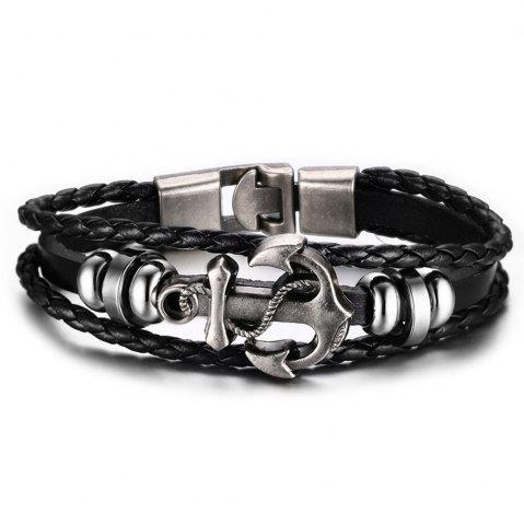 Bracelet en cuir fait main Anchor Man Punk