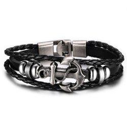 Bracelet en cuir fait main Anchor Man Punk -