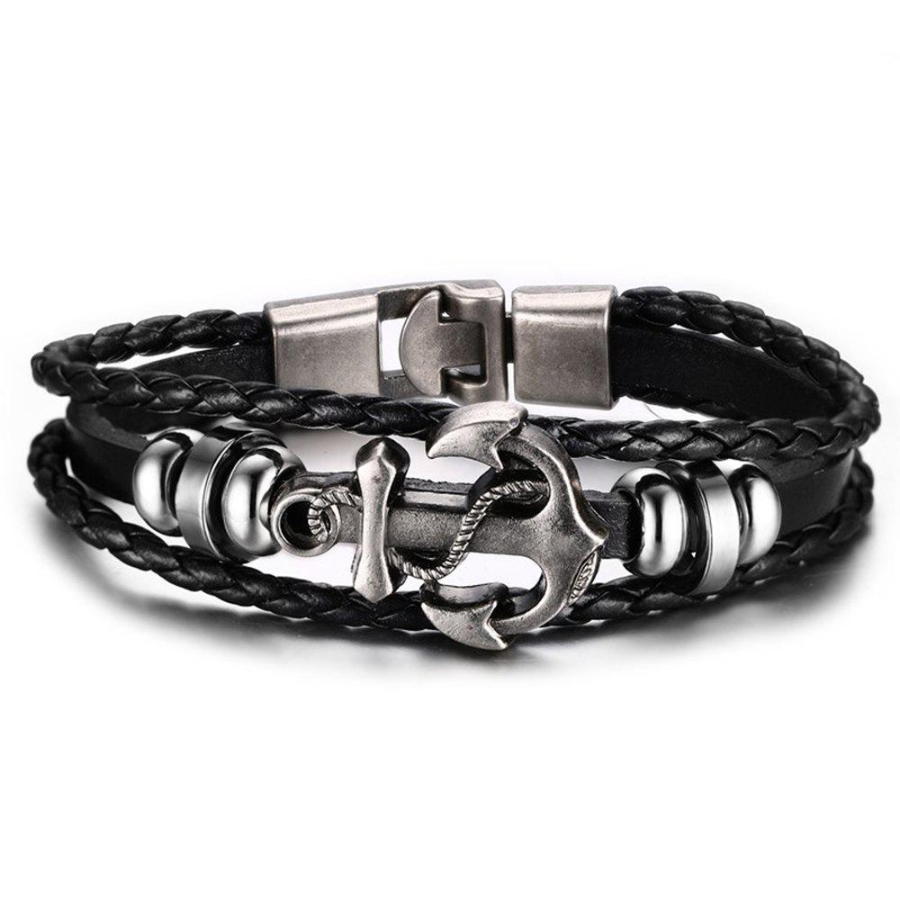Fashion Leather Handmade Anchor Man Punk BraceletJEWELRY<br><br>Size: 1PC; Color: BLACK;