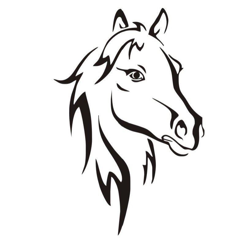 DSU Hot Sale Head Of Horse Wall Stickers Murals Living Room Decorative Animal Vinyl Removable WallpaperHOME<br><br>Size: 44X29CM; Color: BLACK;