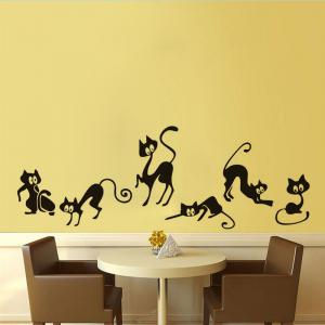Black Xcm Dsu Cute Cat Wall Stickers Set Of Funny Cute Cat - Wall decals and stickers